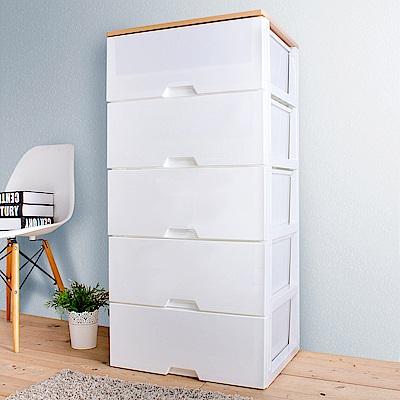 HOUSE 台灣製 木天板-純白衣物抽屜式收納櫃五層-超大款(5大抽【台灣製造】)