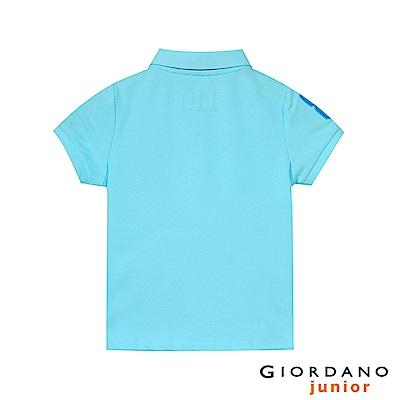GIORDANO 童裝勝利獅王短袖POLO衫-38 綠藍