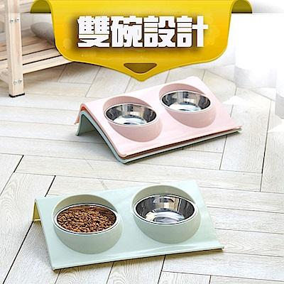 寵愛有家-寵物防溢灑不鏽鋼環保食用雙碗(寵物用碗)