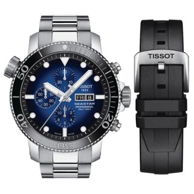 TISSOT天梭 SEASTAR 限量海星300米潛水計時機械錶(T1206141104100)-48mm