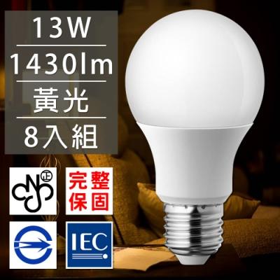 歐洲百年品牌台灣CNS認證LED廣角燈泡E27/13W/1430流明/黃光 8入
