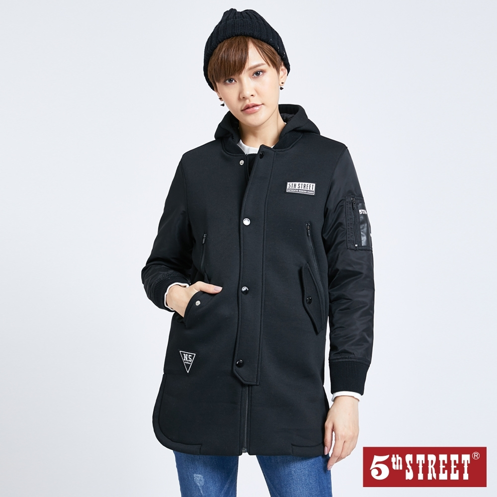 5th STREET異素材剪接 長版連帽外套-女-黑色