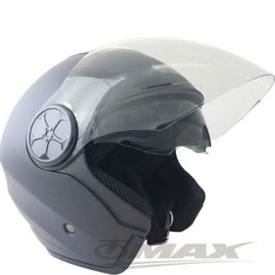 LAUS雙鏡片半罩大頭機車安全帽CA313-消光黑 (贈6入免洗內襯套)-快