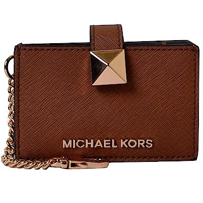 MICHAEL KORS MONEY PIECES經典PVC風琴式吊飾卡片夾-咖啡