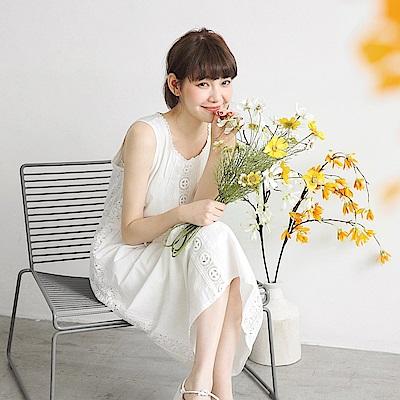 高含棉蕾絲雕花腰抽繩純白洋裝-OB嚴選