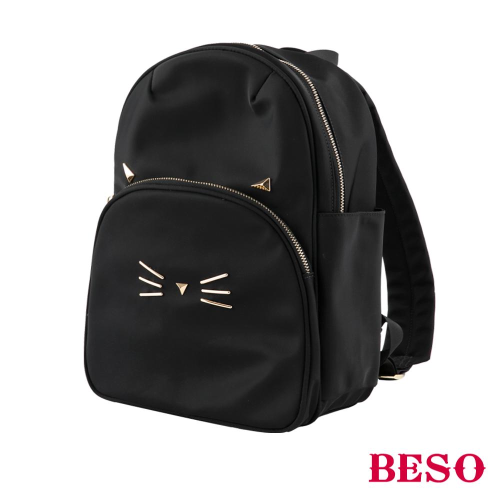 BESO 微笑貓咪 立體金屬後揹包~黑
