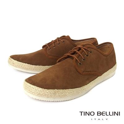 TINO BELLINI 男款 牛皮草編拼接綁帶休閒鞋-棕