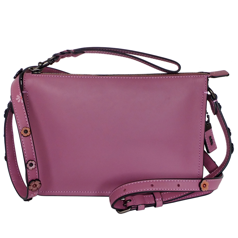 COACH乾燥紫經典棒球手套全皮花朵背帶手掛/斜背小包COACH