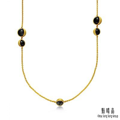 點睛品g collection 圓形黑玉髓 黃金項鍊