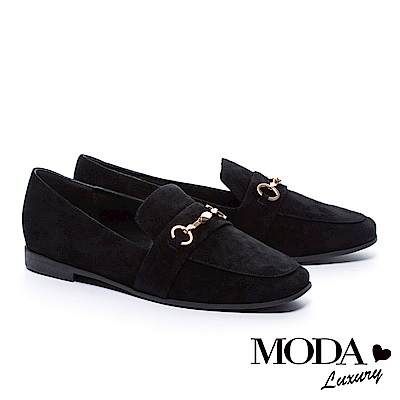 平底鞋 MODA Luxury  經典英倫金屬釦全真皮樂福平底鞋-黑