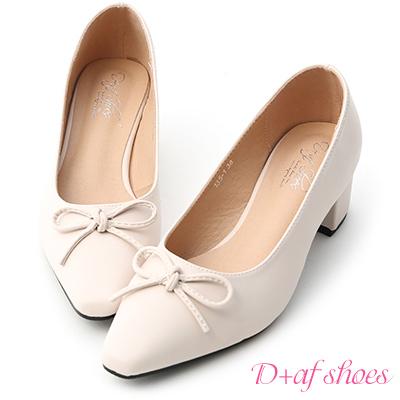 D+AF 優雅舞伶.蝴蝶結尖頭中跟芭蕾鞋*米白