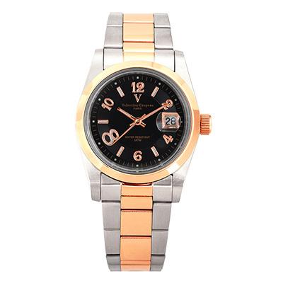 Valentino Coupeau 范倫鐵諾 古柏 都會數字腕錶 (半玫/黑面/男錶)