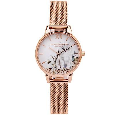 OLIVIA BURTON 高雅貓咪風的米蘭帶手錶(OB16WL76)-白面/30mm