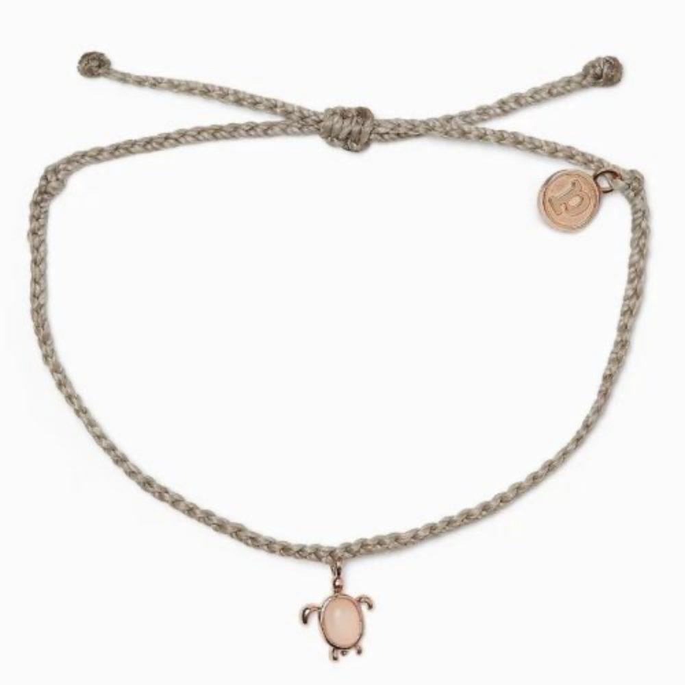Pura Vida 美國手工 慈善系列 保護海龜玫瑰金 灰色蠟線衝浪手鍊手環