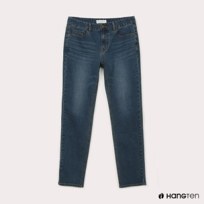 Hang Ten-男裝-環保再生紗-經典款STRAIGHT FIT直筒中腰丹寧褲-中藍色