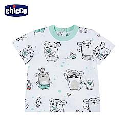 chicco-小熊家族-印花短袖上衣