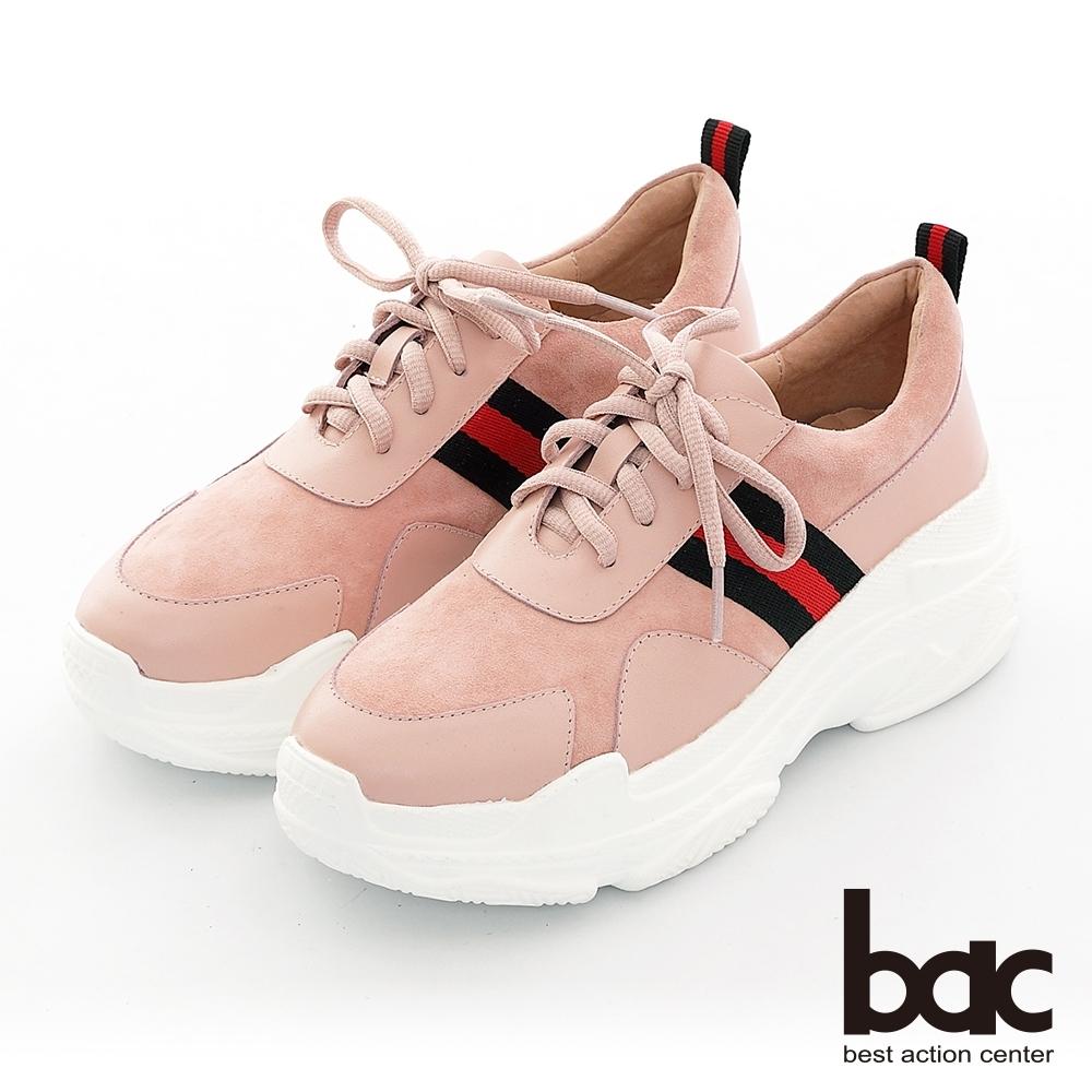 【bac】復古風潮布標點綴綁帶厚底台休閒老爹鞋-粉紅