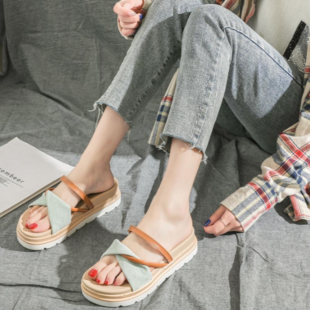 LN 現+預 韓系一字帶厚底交叉涼拖鞋-2色 (綠色)