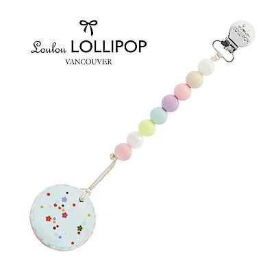 加拿大Loulou lollipop嬰幼兒造型馬卡龍 固齒器組/奶嘴鍊夾-棉花糖