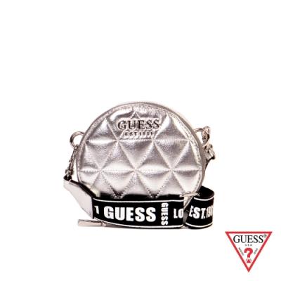 GUESS-女包-菱格紋經典LOGO小圓包-銀