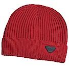 EMPORIO ARMANI 品牌老鷹LOGO圖騰皮標羊毛造型帽(櫻桃紅)