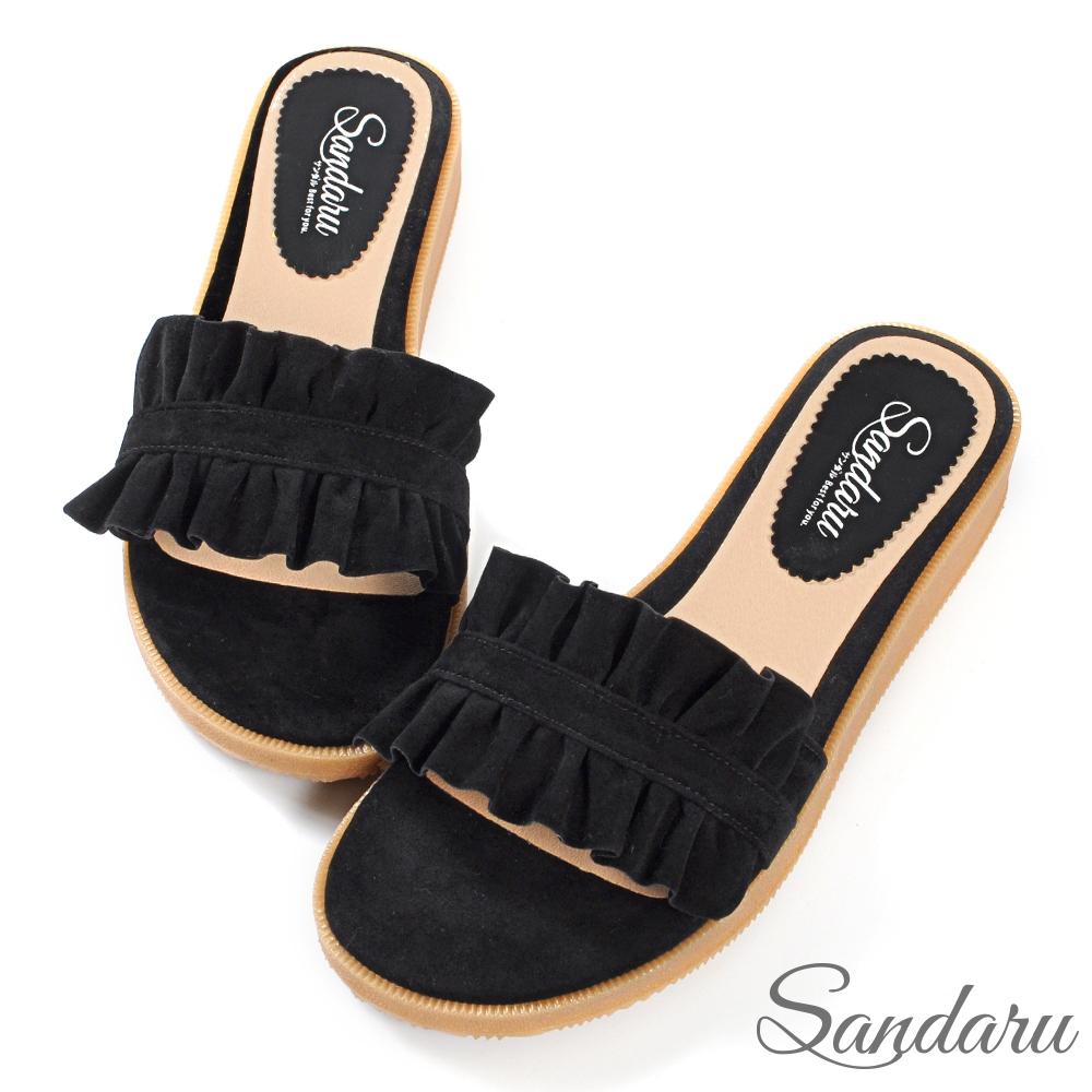 山打努SANDARU-拖鞋 甜美荷葉邊絨布平底拖鞋-黑