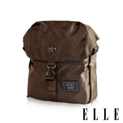 福利品 ELLE HOMME 精湛優雅紳士風範 可置物iPad極致高質感直式掀蓋休閒側背包