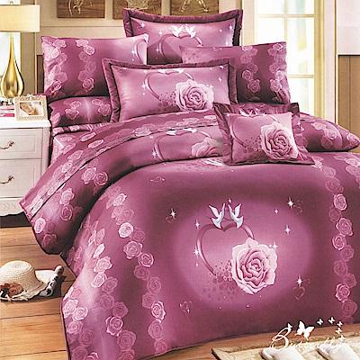 BUTTERFLY-台製40支紗純棉加高30cm薄式雙人床包+雙人鋪棉兩用被-心心相印-紫