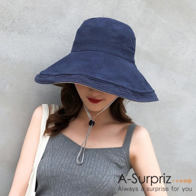 A-Surpriz 純色寬版雙面遮陽布帽(深藍+米)