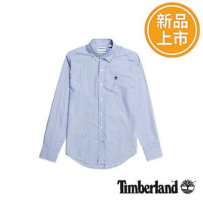 Timberland 男款藍色直紋長袖襯衫