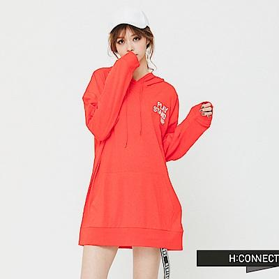 H:CONNECT 韓國品牌 女裝 - 印字寬鬆連帽T-Shirt-紅(快)