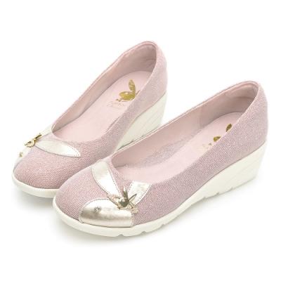 PLAYBOY GOPLAY 走不累Gorgeous增高娃娃鞋-玫瑰金-Y72971H