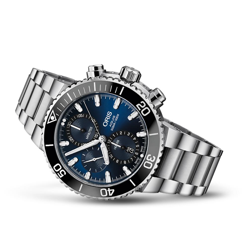 Oris豪利時 Aquis 500米潛水計時機械錶-藍x銀/45.5mm
