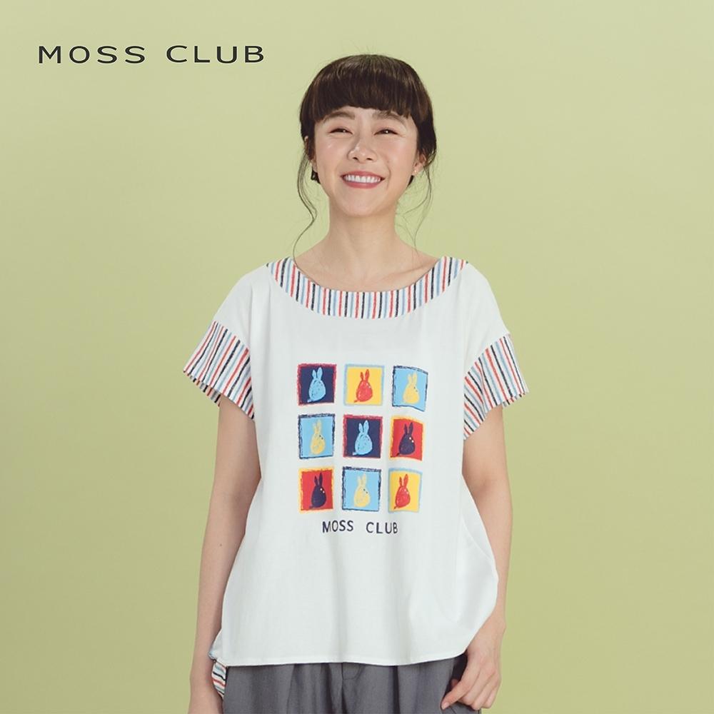 【MOSS CLUB】可愛兔兔圖案條紋袖口下襬-上衣(三色)