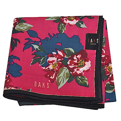 DAKS 經典品牌字母LOGO花團圖騰大帕領巾(桃紅底)