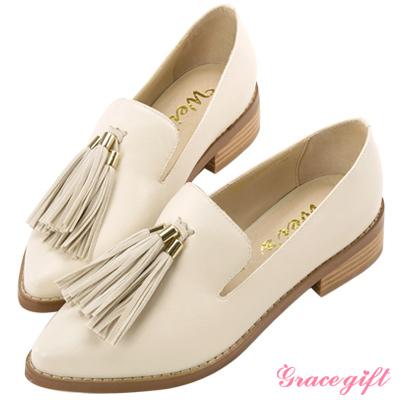 Grace gift X Wei唐葳-異材質流蘇尖頭樂福鞋 米白
