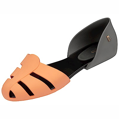MELISSA 極簡撞色平底鞋-黑/橘