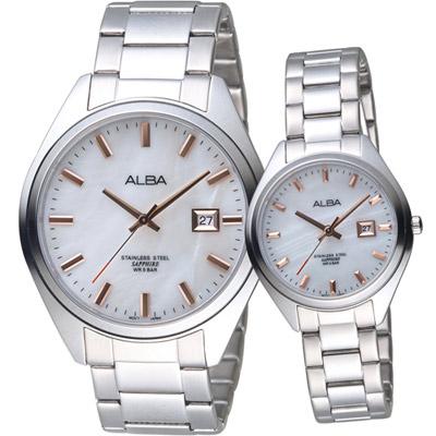 ALBA 愛戀密碼時尚對錶(AS9F65X1+ AH7R15X1)白