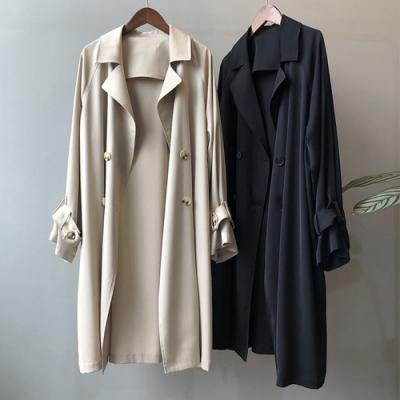 【KISSDIAMOND】美式大翻領長版風衣外套(顯瘦/百搭/文青/KDC-0719)
