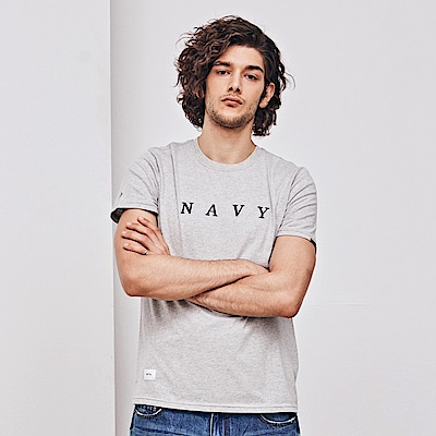 NAVY-MIT 電繡品牌字短T-情侶款-(三色)-男【SNA002】