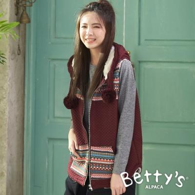 betty's貝蒂思 內鋪毛連帽背心外套(暗紅)