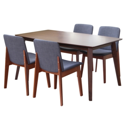 【RICHOME】羅莉餐桌椅組(一桌四椅)90×150×74 / 49×60×83