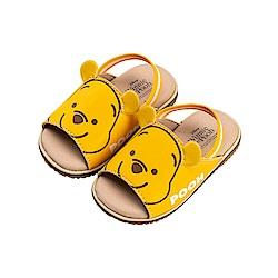 迪士尼童鞋 小熊維尼 立體造型寶寶涼鞋-黃