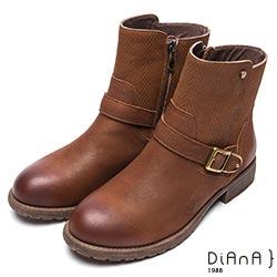 DIANA 簡約率性-經典方釦編織紋拼接鉚釘真皮工程靴-棕