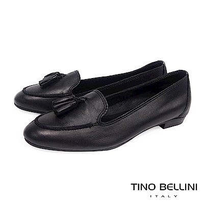 Tino Bellini 義大利進口典雅小流蘇樂福鞋 _ 黑