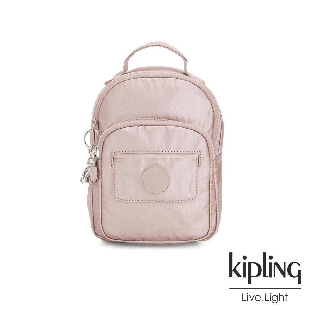 Kipling 嬌柔玫瑰金色三用隨身背包-ALBER