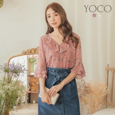 東京著衣-YOCO 微甜幸福碎花荷葉領雪紡上衣-S.M.L(共二色)