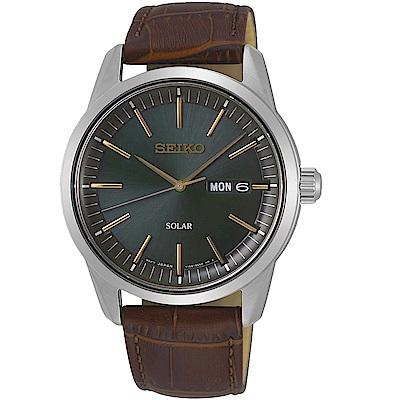 SEIKO精工經典俐落太陽能手錶(SNE529P1)-綠