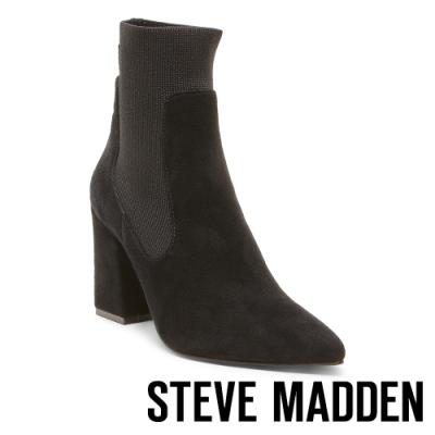 STEVE MADDEN-RICHTER美型激瘦襪套式粗高跟短筒靴-絨黑色