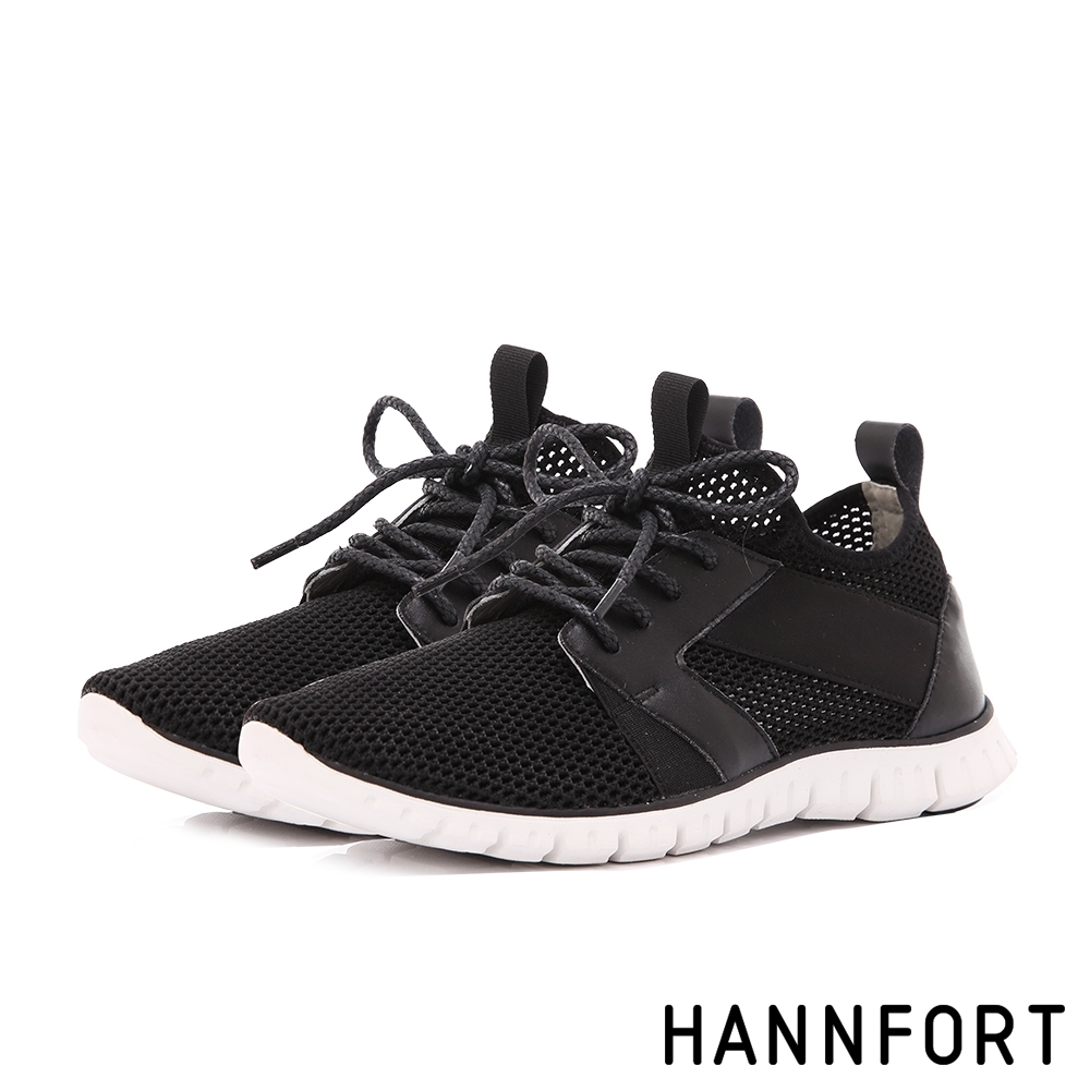 HANNFORT ZERO GRAVITY 編織透氣輕運動休閒鞋-女-黑